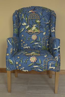 Custom Made Keeler Tavern Chair, Wing Back Upholstered Chair