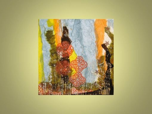 "Custom Made Abstract Collage Original-10""X10"" Blue Yellow Brown By Devikasart"
