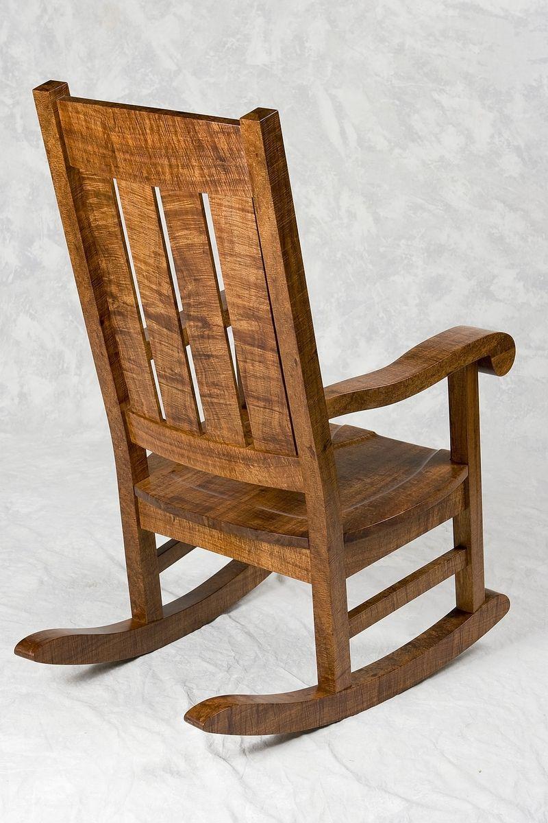 Awe Inspiring Hand Crafted Hawaiian Curly Koa Mission Style Rocker By Machost Co Dining Chair Design Ideas Machostcouk