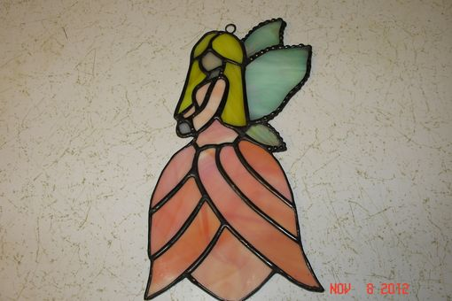 Custom Made Flower Dress In Peach With Yellow Hair Glass Fairy / Angel