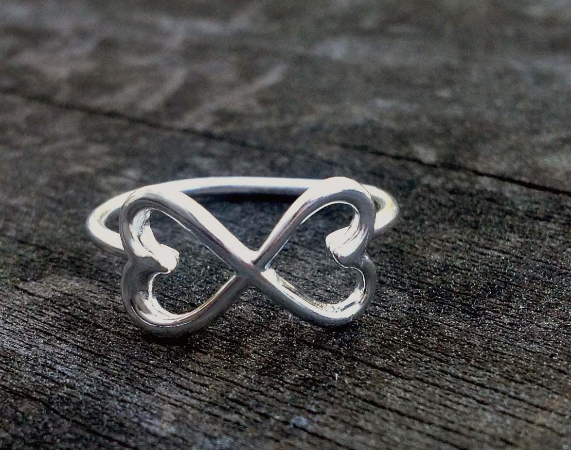 Custom Made Infinity Ring With Double Heart Design By Donna Okino