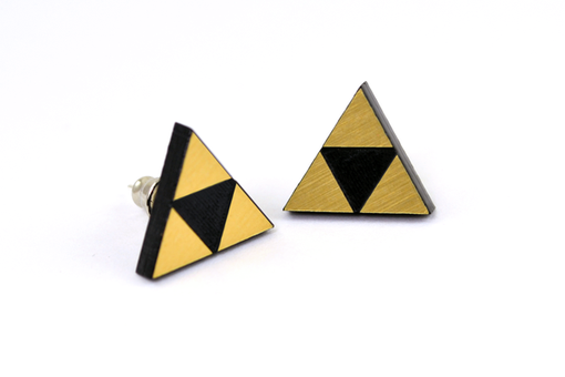 Custom Made Triforce Stud Earrings - Legend Of Zelda - Laser Engraved Acrylic - Laser Cut