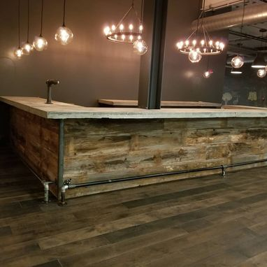 Custom Made Concrete And Barnwood Bar With Copper Sink