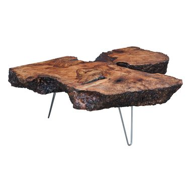 Custom Made Mid Century Modern Slab Coffee Table On Hairpin Legs