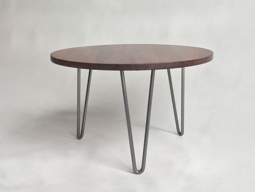 "Custom Made Round 24"" Solid Rosewood Side Table With Hairpin Legs - Mid Century Modern"