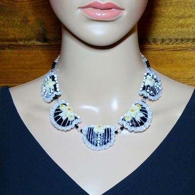 Custom Made Black White And Cream Lampwork Glass Bib Necklace In Sterling Silver