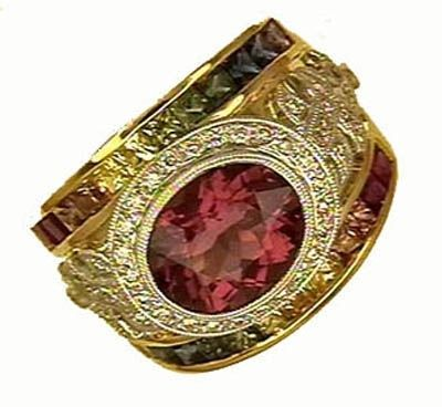 Custom Made Rainbow Sapphire Ring With Pink Tourmaline 18kt Yellow And White Gold