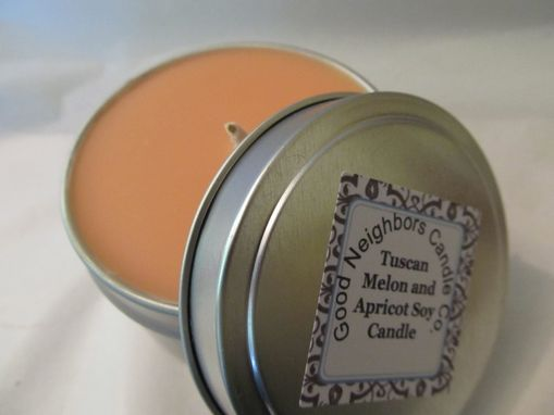 Custom Made Soy Candle Tin, Tuscan Melon And Apricot, 6 Ounce, Tin, Orange, Fruity Candle