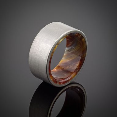 Custom Made Titanium Wood Tone Burl Mens Wedding Band Iced Bronze