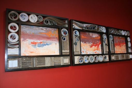 Custom Made Triptych - Oil Paint On Panel, Recycled And Reused Materials Wall Decor