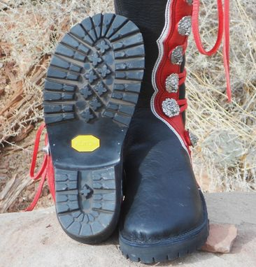 Custom Made Black Buffalo Leather Main Body Boots With Red And White Trim