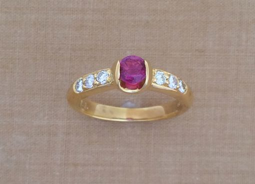 Custom Made Ruby & Diamond Ring - 18k Yellow Gold - July Birthstone - Alternative Engagement Ring