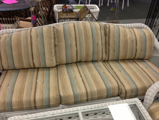 Custom Made Upholstered Striped Cushions