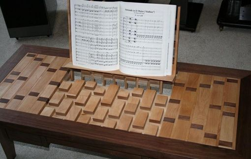 Custom Made Walnut And Birch Inlaid Coffee Table With Integral Music Stand