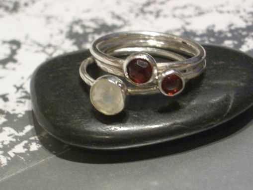 "Custom Made Sterling Silver Stacking Rings With Red And White Gemstones ""Cranberries In The Snow''"