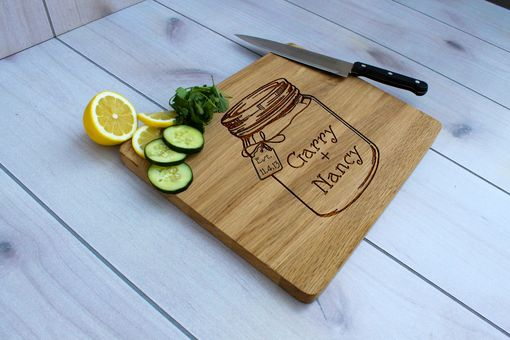 Custom Made Personalized Cutting Board, Engraved Cutting Board, Custom Wedding Gift – Cb-Wo-Gary Nancy Mason Jar