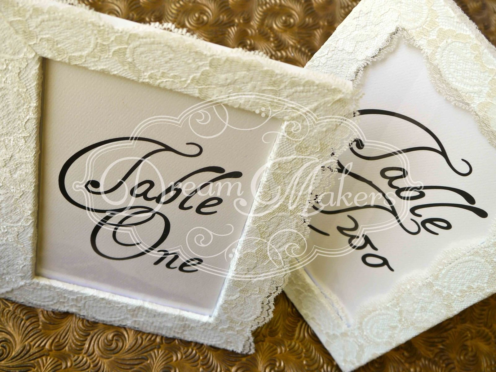 Custom Vintage Lace Table Number Frames by Laura Di Carlo ...