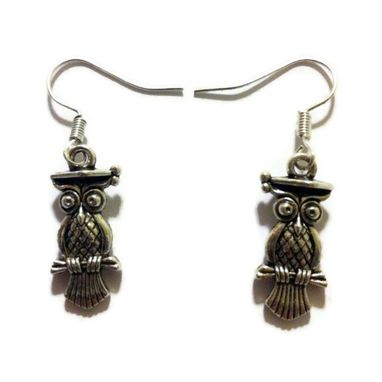 Custom Made Silver Perched Owl Earrings