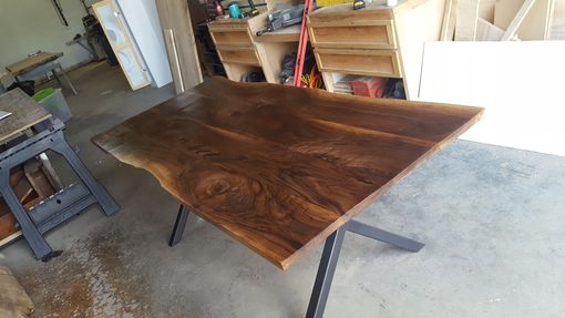Custom Made Walnut Live Edge Dining Table W/ Steel Legs
