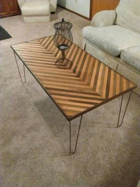 Custom Made Chevron Coffee Table With Hairpin Legs