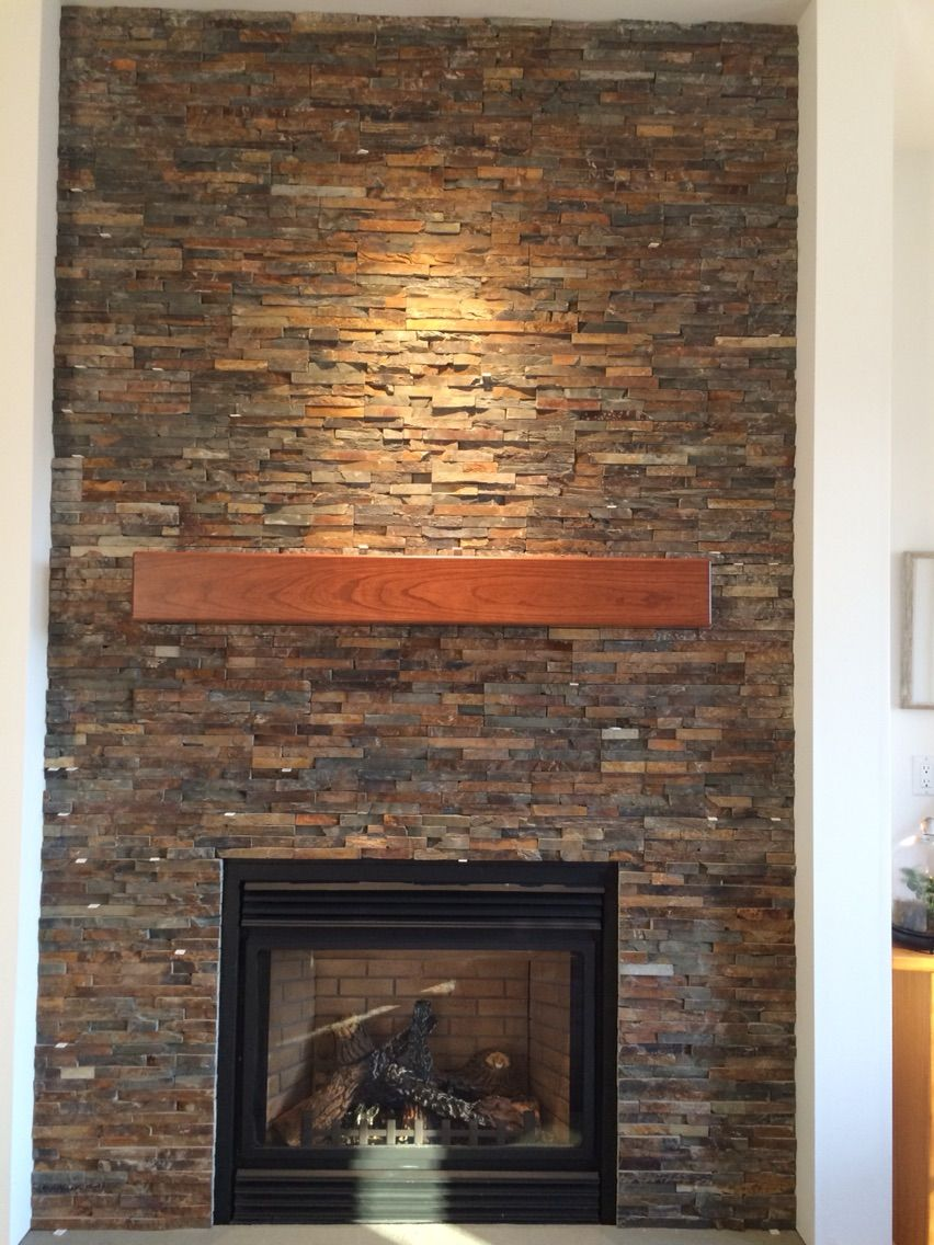 Custom Made Cherry Modern Beam Fireplace Mantel  Handmade by Corners