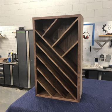 Custom Made Black Walnut Wine Storage Cabinet // Organized Wine Rack