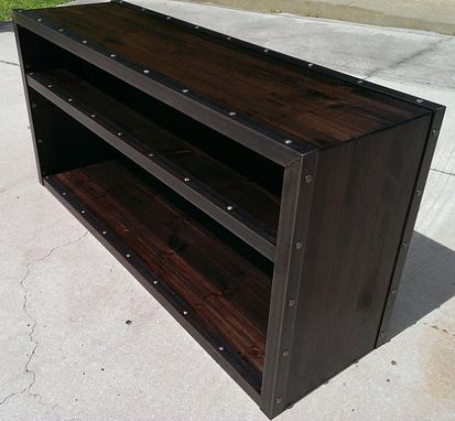 Custom Made Wood & Steel Industrial Bookcase #022 • By Iefco.