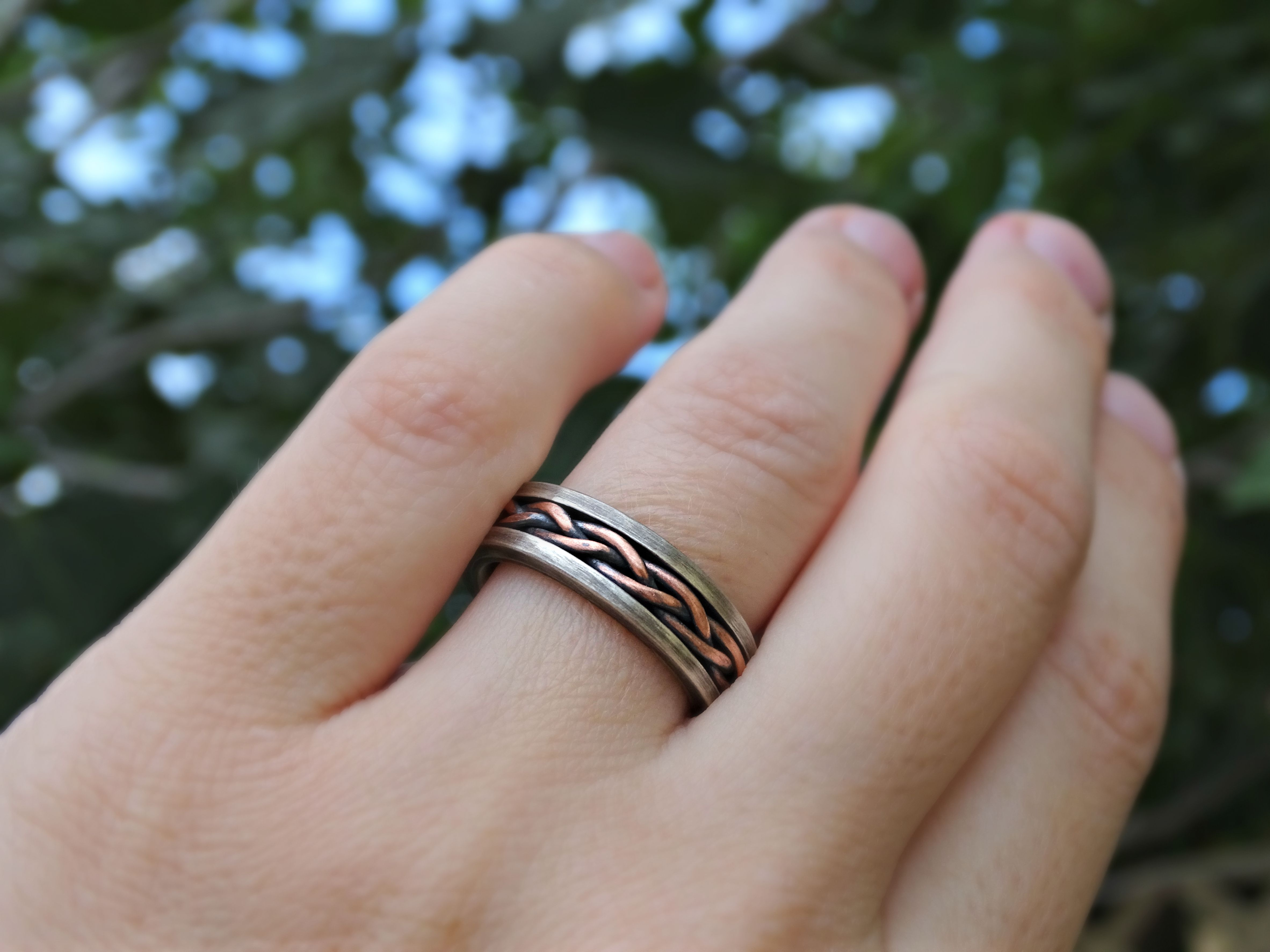 Buy a Hand Crafted Viking Wedding Band, Braided Ring Two Tone ...