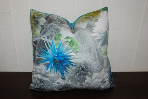 Custom Made 15x15 Designers Guild Photographic And Painted Blue Floral Pillow Cover - Blue Velvet Pillow