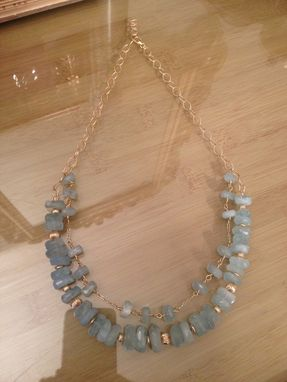 Custom Made Handmade Aquamarine Faceted Necklace With 14k Gold