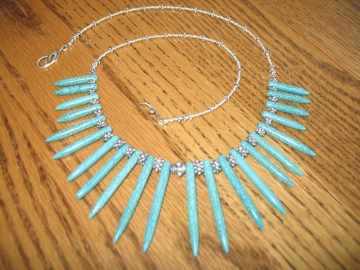 Custom Made Hill Tribe Silver Turquoise Magnesite & Sterling Necklace