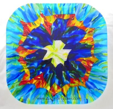 Custom Made Fused Glass Platter - Starburst