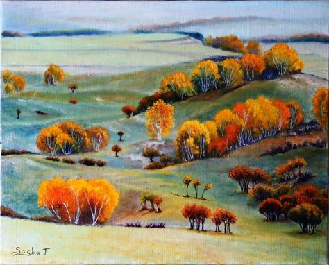 Custom Made Autumn Landscape Oil Painting, Autumn Colors, Autumn Trees In Field
