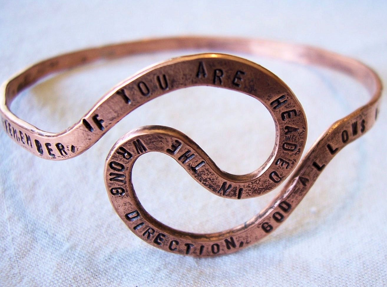 Hand Crafted Personalized Memorial U Turn Quote Copper Bangle Bracelet By Freckle Patch Design Custommade