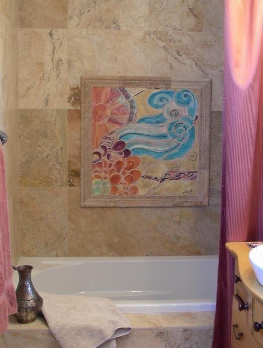 Custom Made Handmade Tile Mosaic Insert For Bathtub