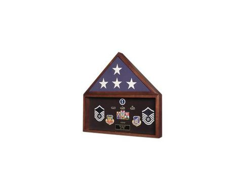 Custom Made Ceremonial Flag And Medal Display Case, Ceremonial Flag Displays
