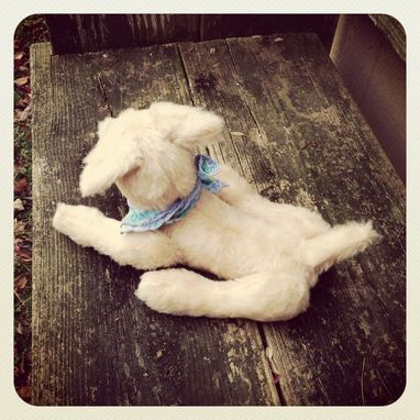Custom Made Jointed Dog/Fur Made From Recycled Bottles/Vintage Style/Hand Stitched Details