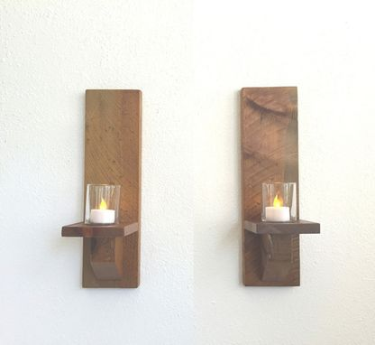 Buy A Hand Made Rustic Wood Wall Sconces Candle Sconces