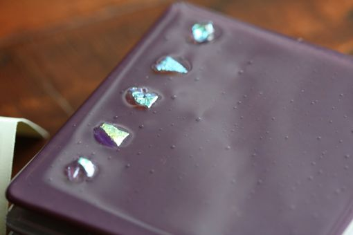 Custom Made Purple Glass Coasters With Dichroic Accents In Set Of 4