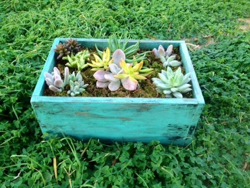 Custom Made Reclaimed Distressed Turquoise Solid Wood Succulent Box