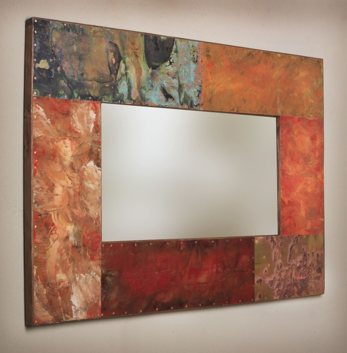 Custom made copper and metal mirror frames by paul rung for Metal frame mirror