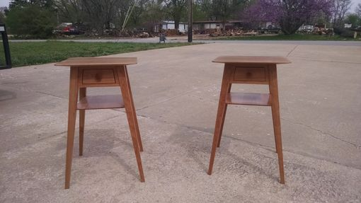 Custom Made Splayed Leg Occasional Table In Cherry
