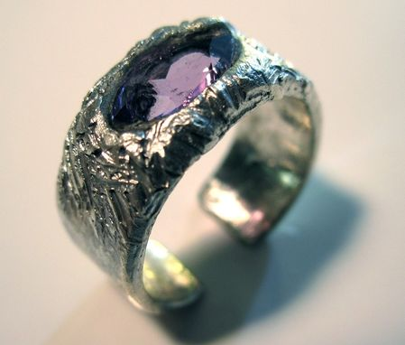 Custom Made Pure Silver And Amethyst Ring