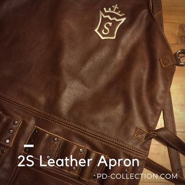 Custom Made 2s Leather Apron In Genuine Cowhide Mahogany Custom Made Name Initials