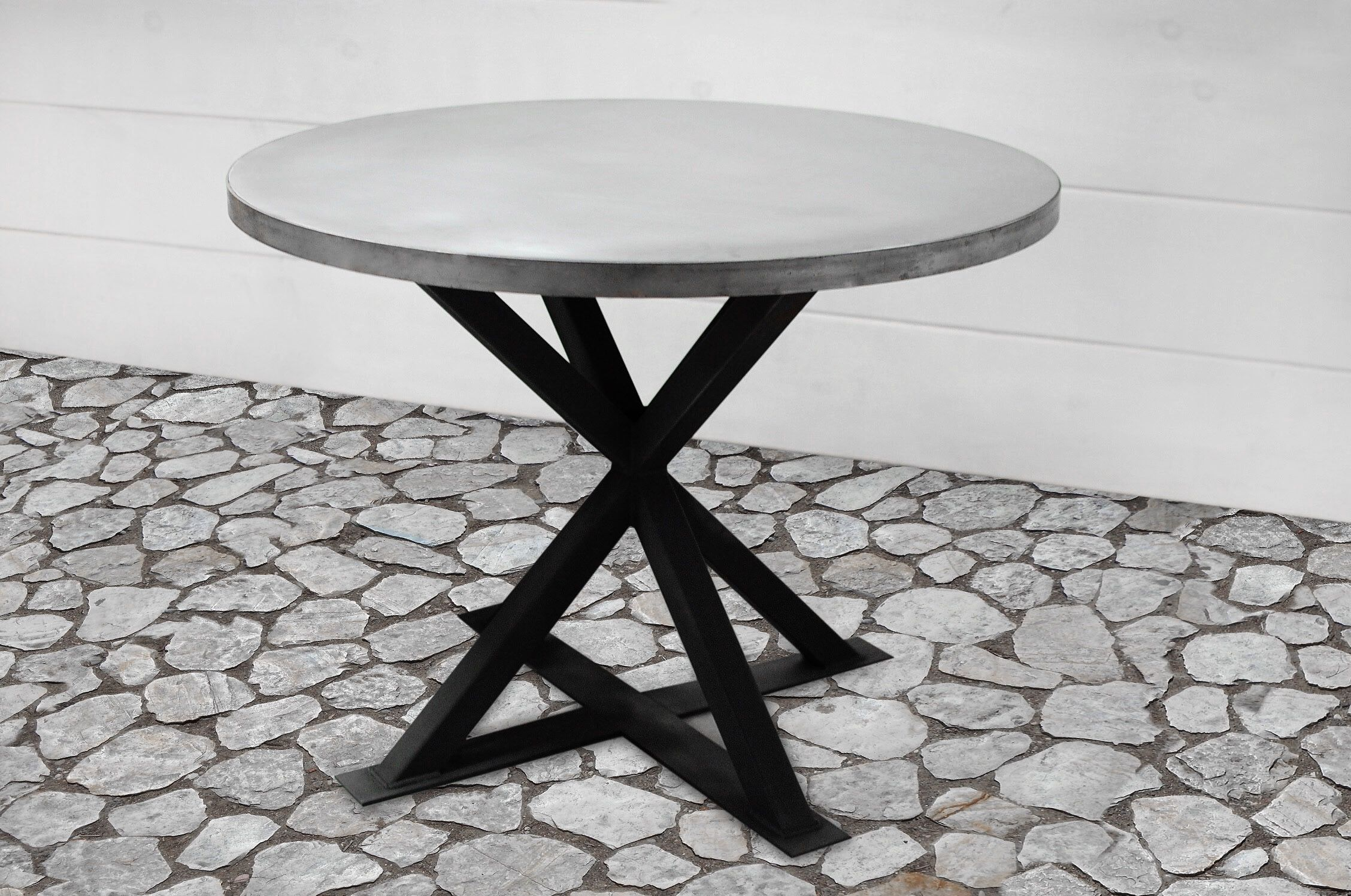 Handmade Kensington Round Zinc Dining Table By Southern Sunshine