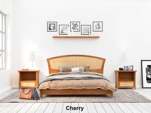 "Custom Made Modern Platform Bed Queen Size, Low Bed Frame Wood, Art Deco, Cherry Headboard, King, ""River Rushes"""