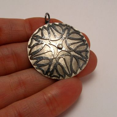 Custom Made Sun Flower Necklace In Sterling Silver With Handmade Chain