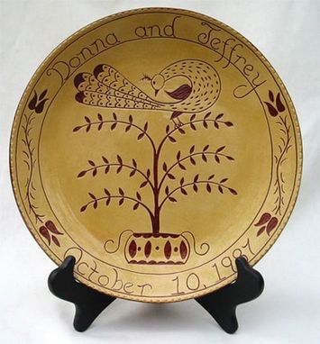 Custom Made Redware Wedding/Anniversary Peacock On Tree Plate Decorated Using The Sgraffito Techinque