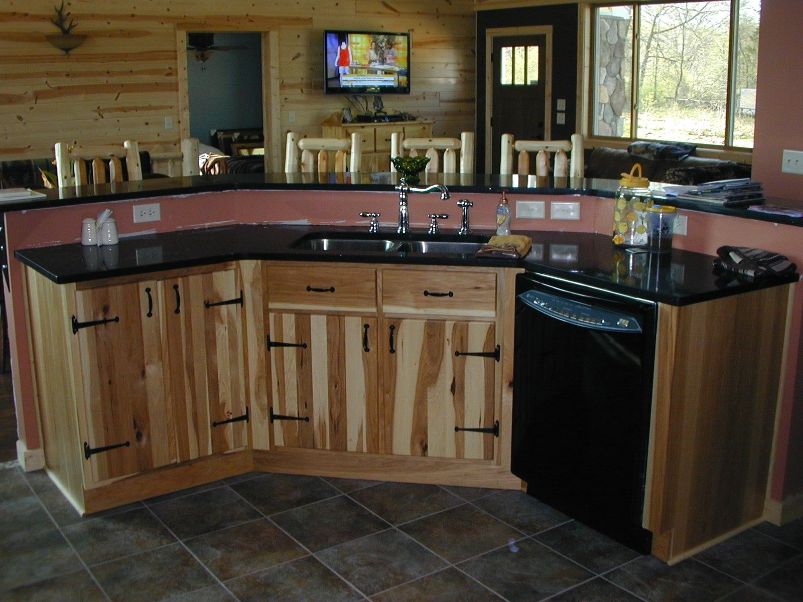 Handmade hickory kitchen and utility cabinets by the plane for Hickory kitchen cabinets