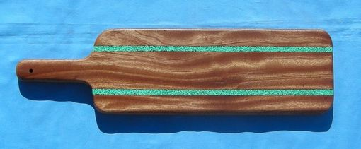 Custom Made Mahogany Baguette Board With Turquoise Inaly